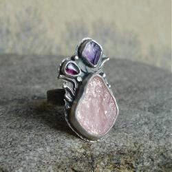 różowy,pastele,surowość - Pierścionki - Biżuteria