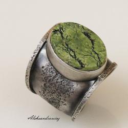 srebro seerpentyn - Pierścionki - Biżuteria