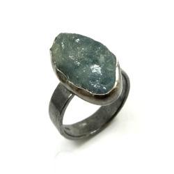 akwamaryn,blask,srebrny,kamień,oksyda,błękit - Pierścionki - Biżuteria