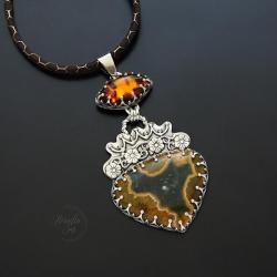 srebrny,naszyjnik,zjaspisem i bursztynem - Naszyjniki - Biżuteria