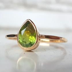 pierścionek,złoty,turmalin,gruszka - Pierścionki - Biżuteria