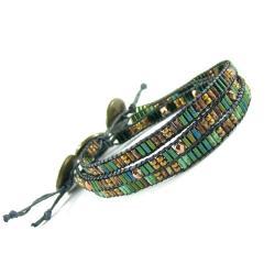 bransoletka z lnu,koraliki,boho - Bransoletki - Biżuteria