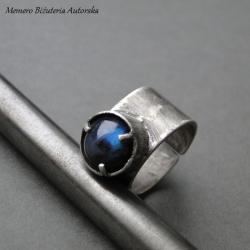 srebro,labradoryt,surowy,sygnet - Pierścionki - Biżuteria