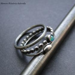 srebro,opal,zestaw,trio,delikatny - Pierścionki - Biżuteria