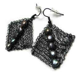 kolczyki,siateczka,szydełko,perły,lekkie - Kolczyki - Biżuteria