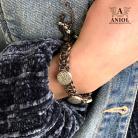 Bransoletki biżuteria skórzana,pleciona bransoleta,srebro