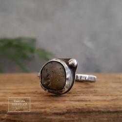 srebro,bursztyn,surowy, - Pierścionki - Biżuteria
