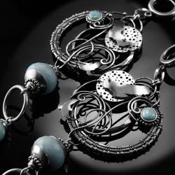 srebrne,kolczyki,wire-wrapping,orzeł,larimar,ciba - Kolczyki - Biżuteria