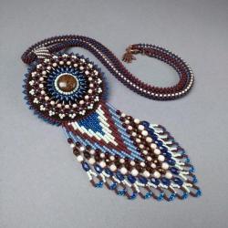 indiański,wisior,naszyjnik,haft koralikowy - Naszyjniki - Biżuteria