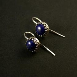srebrne kolczyki z lapis lazuri - Kolczyki - Biżuteria