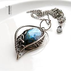 naszyjnik srebrny,naszyjnik z labradorytem, - Naszyjniki - Biżuteria