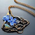 Naszyjniki fiołki,opal,secesja,emalia,szafirowy