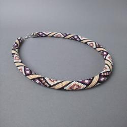 sznur szydełkowy,kolorowy,z wzorem - Naszyjniki - Biżuteria