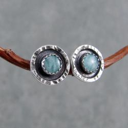 surowe,sztyfty,okrągłe,industrialne,młotkowane - Kolczyki - Biżuteria