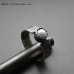srebro,perła,oksydowany - Pierścionki - Biżuteria