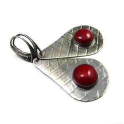 koral,srebrny,szarości,srebro,retro,czerwień - Kolczyki - Biżuteria
