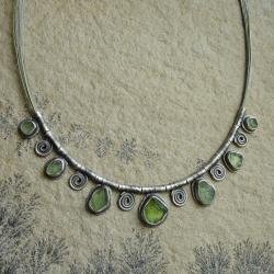 naszyjnik z oliwinami,zielony,etniczny - Naszyjniki - Biżuteria