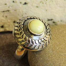 pierścionek,oksyda,bursztyn,laur,liście, - Pierścionki - Biżuteria