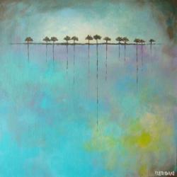 drzewa,turkus,zółty,abstrakcja - Obrazy - Wyposażenie wnętrz