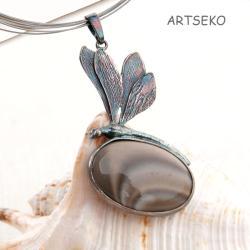 ważka,srebrna,elegancka,krzemieńpasiasty,prezent, - Wisiory - Biżuteria