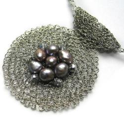 naszyjnik,perły,elegancki,klasyczny,szydełko - Naszyjniki - Biżuteria