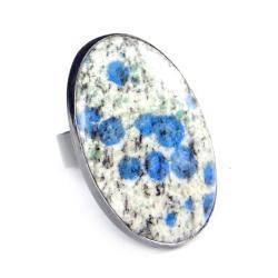 jaspis,azuryt,srebrny,okazały,beżowy,mineralny, - Pierścionki - Biżuteria