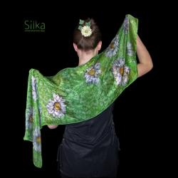 zielony jedwabny szal z kwiatami - Inne - Dodatki