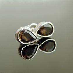 kolczyki,kwarc dymny,srebro,sztyfty - Kolczyki - Biżuteria