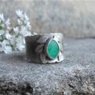 Pierścionki zielony kamien,liście,bajka