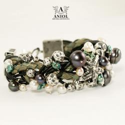 komplet biżuterii,kolczyki,bransolet z perłami - Bransoletki - Biżuteria
