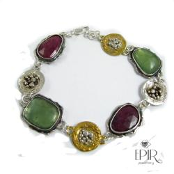 Bransoletka srebrna z rubinami - Bransoletki - Biżuteria
