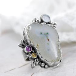 ametyst,cytryn,agat solarny - Pierścionki - Biżuteria
