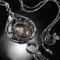 srebrny,naszyjnik,kwarc rutylowy,ciba,wirewrapping - Naszyjniki - Biżuteria