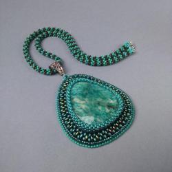 amazonit,wisior,turkusowy,haft koralikowy - Wisiory - Biżuteria