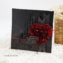 walentynki,kartka miłosna,serce z kwiatów,róże - Kartki okolicznościowe - Akcesoria