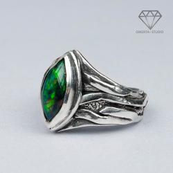 omerta,czarny opal,magia,magiczny pierścień - Pierścionki - Biżuteria