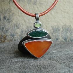 pomarańcz,orange,karneol,wisior - Wisiory - Biżuteria