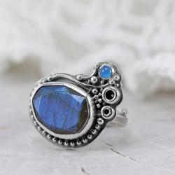 niebieski labradoryt,pierścionek z labradorytem - Pierścionki - Biżuteria