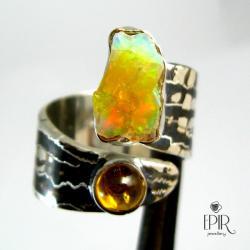 Obrączka srebrna z opalem iturmalinem - Pierścionki - Biżuteria
