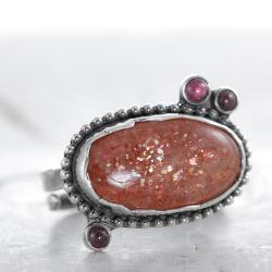 kamień słoneczny,pomarańczowy pierścionek,srebro - Pierścionki - Biżuteria