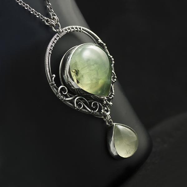 75102b0e94dac6 naszyjnik,prehnit,wire wrapping,oryginalny - Naszyjniki - Biżuteria ...