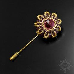 szpilka,szpila,elegancka,swarovski,fioletowa,złota - Broszki - Biżuteria