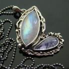 Naszyjniki srebro,kamień księżycowy,tanzanit,motyl