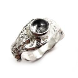 turmalin,srebrny,surowy,blask,czarny,mineralny - Pierścionki - Biżuteria