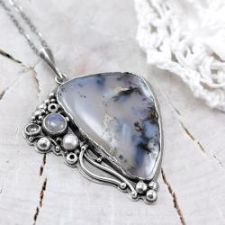 agat dendrytowy,kamień księżycowy,perła,litori - Naszyjniki - Biżuteria
