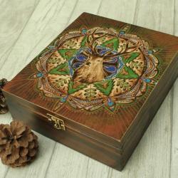 jeleń,pirografia,mandala,wypalanie - Herbatnice - Wyposażenie wnętrz