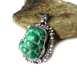 malachit,mineralny,srebrny,blask,wiosenny,unikat, - Wisiory - Biżuteria