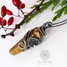 Wisiory wisior z kwarcem tytanowym,alabama studio,złoty
