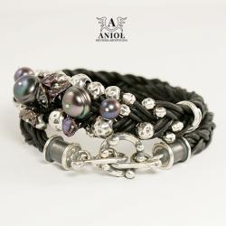 bransoleta skórzana,biżuteria srebrna z perłami - Bransoletki - Biżuteria