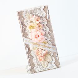 ślub,róże,shabby chic - Kartki okolicznościowe - Akcesoria